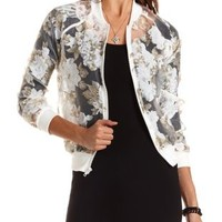 Floral Organza Bomber Jacket by Charlotte Russe