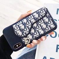 DIOR New fashion more letter leather couple protective cover phone case