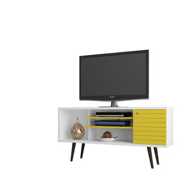 "Liberty 53.14"" Mid Century - Modern TV Stand w/ 5 Shelves & 1 Door w/ Solid Wood Legs-White and Yellow"