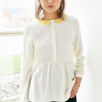 White Pepper Contrast Collar Keyhole Blouse - Urban Outfitters