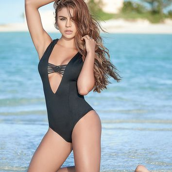 Deep Plunge Macrame Detailed One Piece
