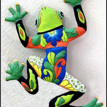 "Huge Frog Wall Hanging - 34"" Hand Painted Metal Tropical Decor - Recycled Haitian Steel Drum Art - 702-GR-34"