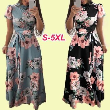 Women New Fashion Short Sleeve Floral Maxi Dress High Waist Bandage Plus Size Long Tunic Dress for Prom Party Holiday