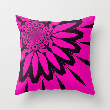 The Modern Flower Hot Pink & Black Throw Pillow by 2sweet4words Designs