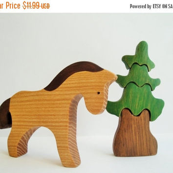 ON SALE Toy Horses Farm Animals Waldorf Montessori toy Walforf Learning toy Miniature animal figurines Waldorf nature table  Handmade Toys f