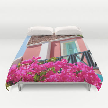 Art Duvet Cover Lovey Santorini fine art Modern Landscape photography home decor hot Pink Flowers printed Bed Cover light aqua blue home