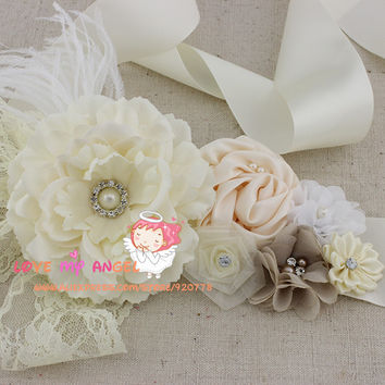 1 pcs Floral wedding sash Ivory fabric flower with lace pearls Rhinestone and Feathers belt flower girl sash, bridal sash