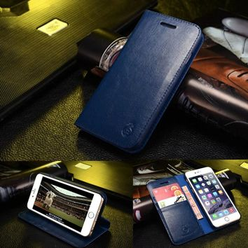 High Quality Wallet Leather Case for iPhone 6 Plus Flip Book Style Phone Bag Cover with Card Holder