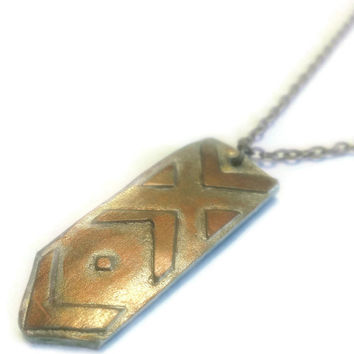 Arrow Clay Pendant, Gold Aztec Necklace, Southwestern Style Jewelry, Chevron Design Accessory, UniqueTribal Cool trendy