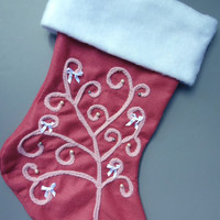 Girl's Sweet Pink Ribbons and Pearls Christmas Stocking