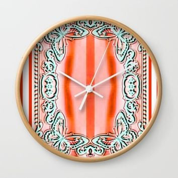 ORANGE LACE Wall Clock by violajohnsonriley