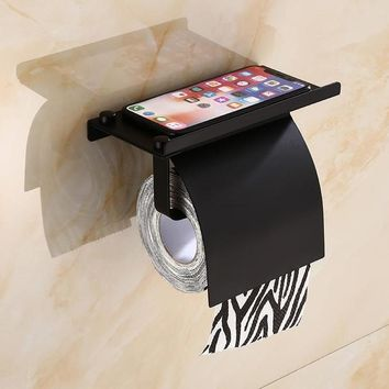 Stainless Steel Wall Mounted Toilet Paper Holder with Shelf