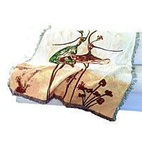 Tache Abstract Art Ballet Dancers Afghan Tapestry Throw with Fringe (2500)