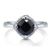 Cushion Sapphire Cubic Zirconia 925 Sterling Silver Halo Ring 1.28 Ct #r797-sp