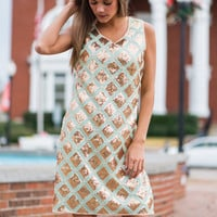 Every Kiss Dress, Mint/Gold