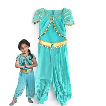 halloween party cosplay children girl Aladdin jasmine princess costume Aladdin costume lamp clothes clothing jumpsuit kid