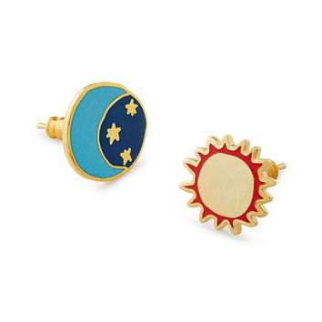 Sun & Moon Mismatched Earrings | space jewelry, geek jewelry, nerd jewelry