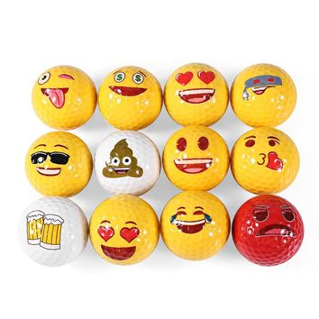 12pcs Golf Ball Emoji Funny Cute Golf Ball Accessory Gift Rubber Surlyn for Golfing Game Training Kids Golfers