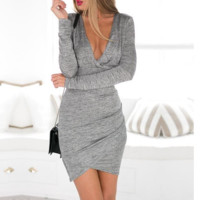 Wrap Deep V-Neck  Draped  Long Sleeves Cut-out Dress in Grey