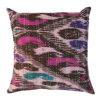 """16"""" Indian Multicolor Ikat Kantha Cotton Throw Pillow Cover Sham"""