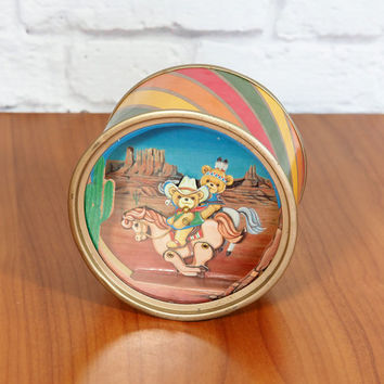 "Vintage San Francisco Music Box Toy ""Happy Trails"" Animated Cowboy Teddy Bear in the Desert"