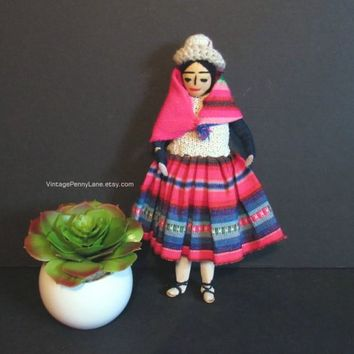 Vintage Souvenir Doll / Handmade Mexican Doll with Hand Sewn Dress / Clothing