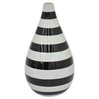 "Three Hands Ceramic Vase - Black/White (10.25"")"