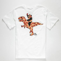 Riot Society T Rex Pizza Boys T-Shirt White  In Sizes