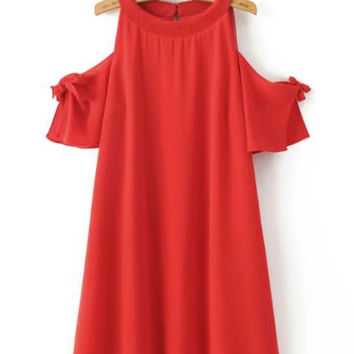 Summer High Waist Bowknot Mini Cold Shoulder Dress with Short Sleeve