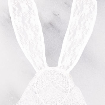 White Bunny Floral Laced Headband