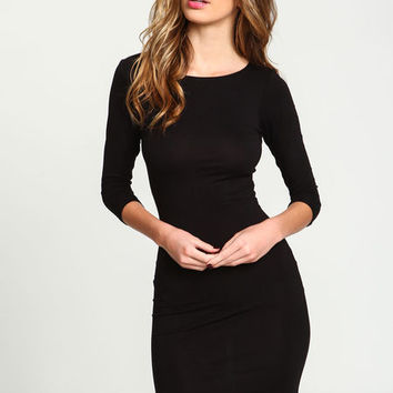 BLACK KNIT TEE DRESS
