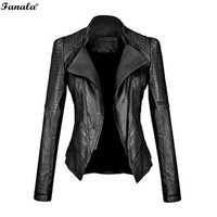 FANALA 2017 Leather Women's Motorcycle Slim Fit Jacket/Coat