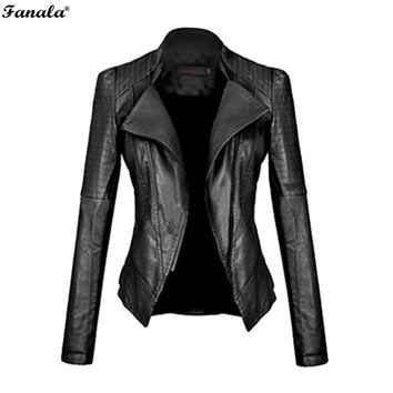 Faux Leather Jacket Women Motorcycle