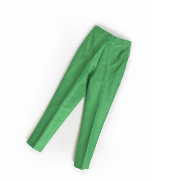 Vintage 1960s Pants - Green High Waisted Pin Up Cigarette Pants 60s - Extra Small / XS