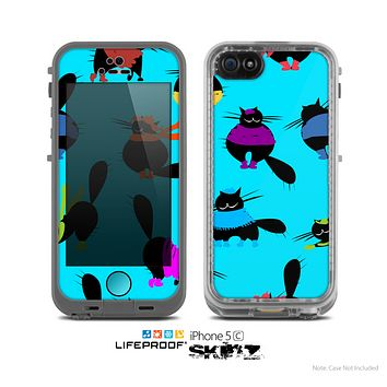 The Blue Cute Fashion Cats Skin for the Apple iPhone 5c LifeProof Case
