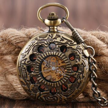 Xmas Gift Fob Mechanical Pendant Necklace Pocket Watch Luxury Copper Circles Bronze Women Men Cool Hand-winding Free Shipping