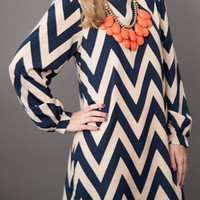 Color Block Chevron Print Long Sleeve Mini Shift Dress
