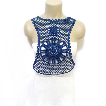 Body Necklace, Crochet Necklace, Bib necklace, Crochet, FREE SHIPPING, Handmade Cotton Lace Collar, Navy Blue, Blue collar