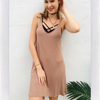 Running Late Cutout Dress- Taupe