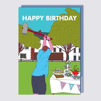 Modern Toss - Happy Birthday Cup Cake Mallet - Greeting Card
