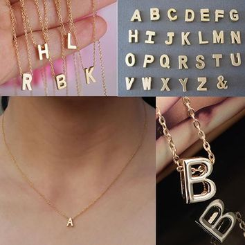 Fashion DIY Letter Name Initial Link Chain Charm Pendant Necklaces for Women Men Erkek Kolye Colar Jewelry Christmas Gift