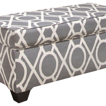 "Arthur 36"" Storage Bench, Gray/White, Bedroom Bench"