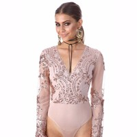 2017 Hot Bodysuit Women Jumpsuit Sexy Rompers Floral Embroidered Sheer Mesh Overalls for Women Bodysuit Sexy Playsuit Plus Size