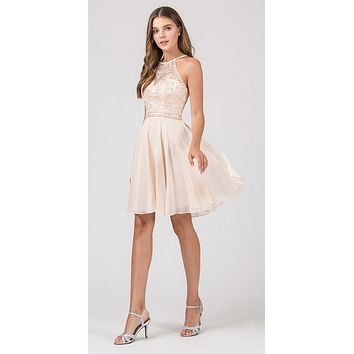 Halter Short Fit and Flare Homecoming Dress Champagne