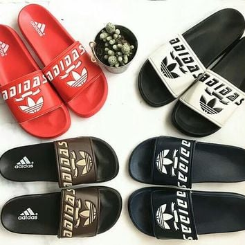 """Adidas"" Summer Fashion Letter Slippers Men Home Sandals Flats Shoes"