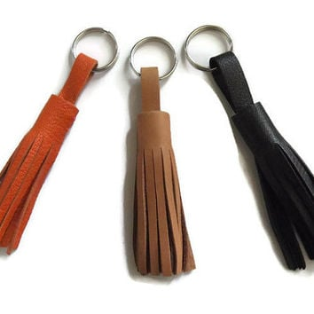 Leather Tassel Keychain- Bag Decoration- Choose your color