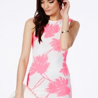 Missguided - Picara Mini Dress In Neon Palm Print