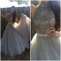 High Neck Beading A-Line Prom Dresses