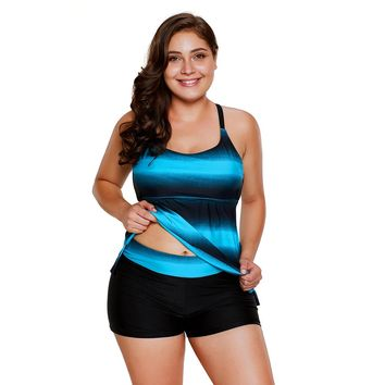 Blue Strappy Hollow-out Back Tankini Set
