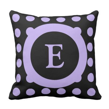 Personalized black and purple polka dots throw pillow
